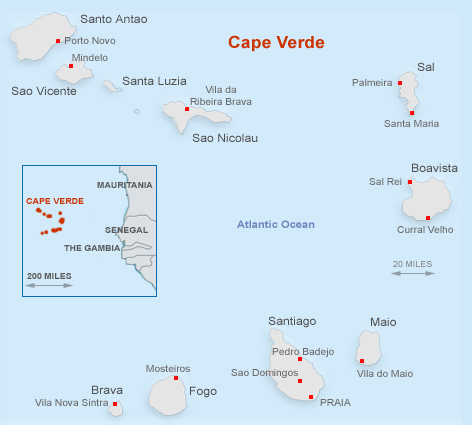 Africa Map Cape Verde Islands | Campinglifestyle